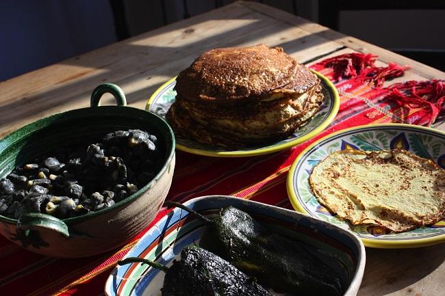 ingredients for crepas de huitlacoche